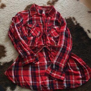 Tops - Flannel maternity shirt dress